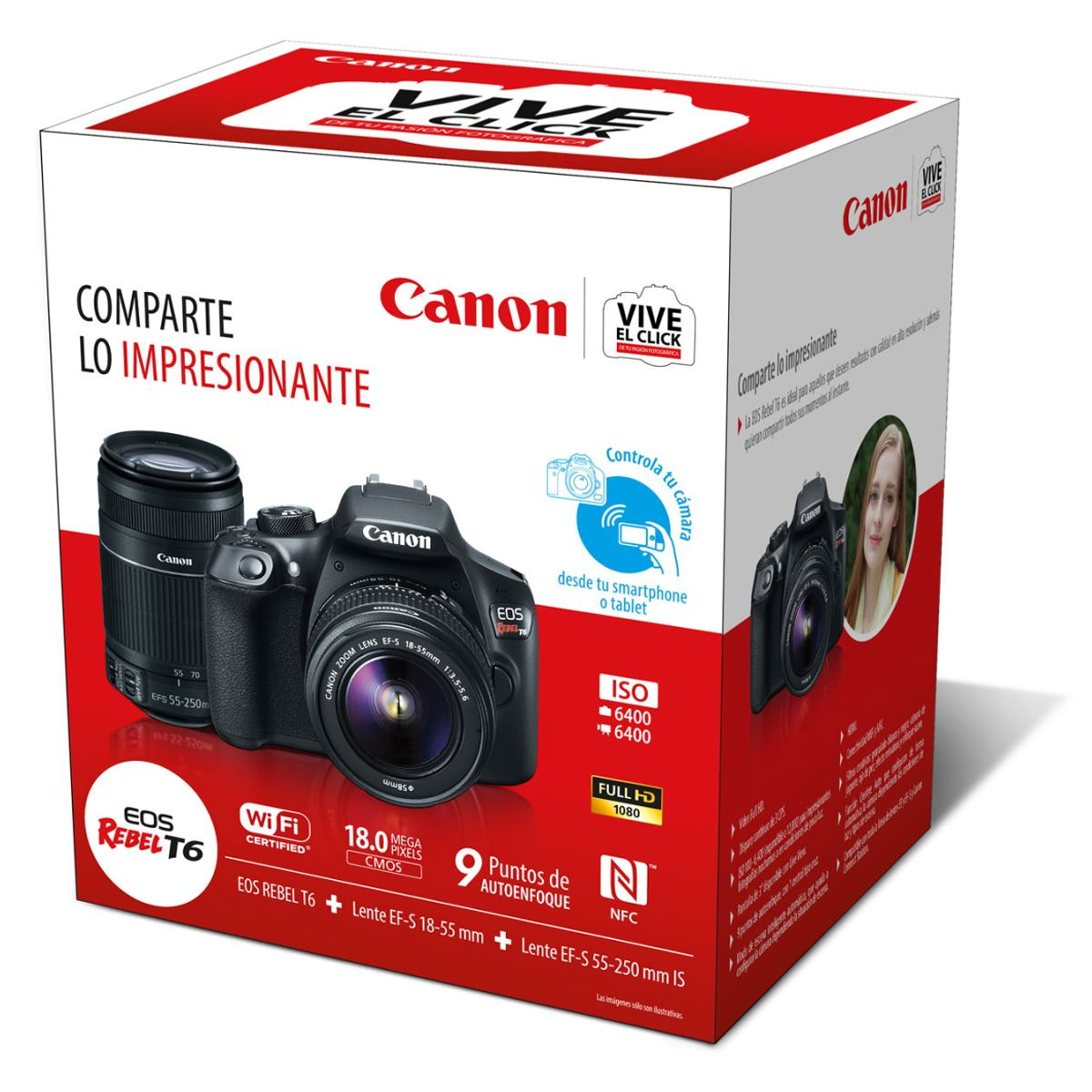 Camara Canon EOS Rebel T6 + Lente EF-S 18-55 mm + Lente EF-S 55-250 mm IS