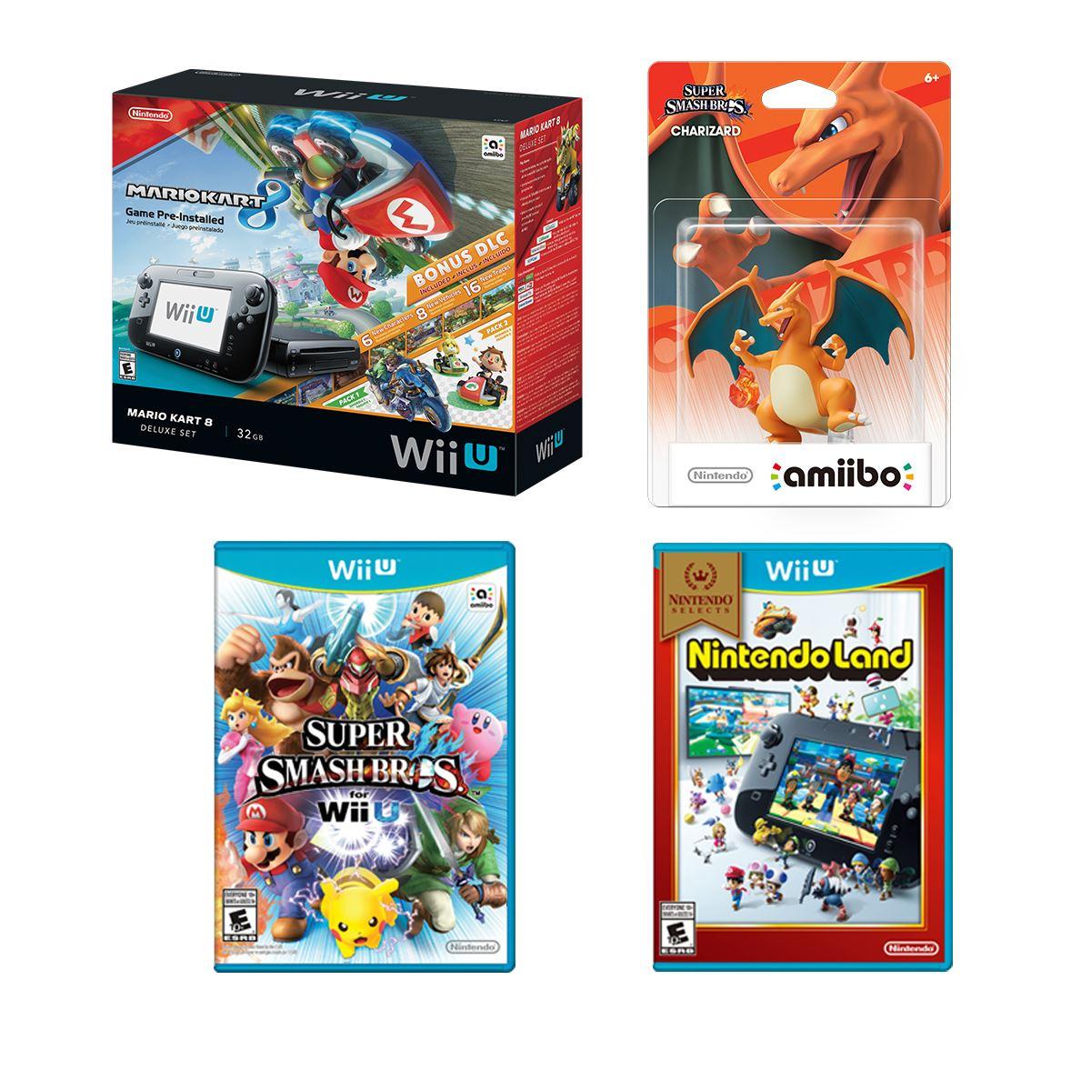 Bundle Consola WiiU Mario Kart 8 + Amiibo + 2 Videojuegos