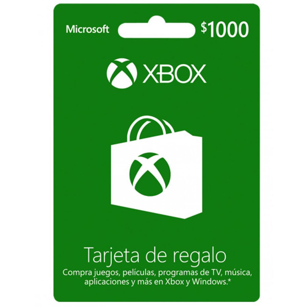 Tarjeta Xbox Live CSV 1000 Mxn